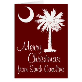 Merry Christmas from SC Garnet Palmetto Moon Card