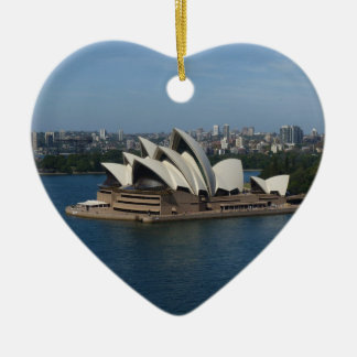 merry Christmas from Sydney Double-Sided Heart Ceramic Christmas Ornament