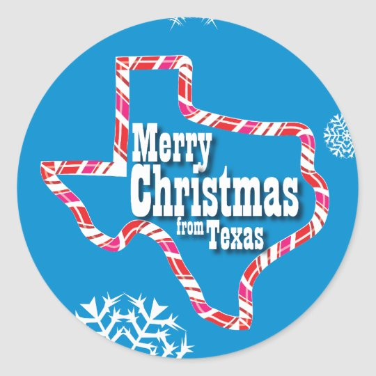 Merry Christmas from Texas Classic Round Sticker