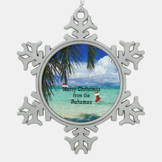 Merry Christmas from the Bahamas Snowflake Pewter Christmas Ornament
