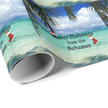 Beach Themed Merry Christmas from the Bahamas Wrapping Paper