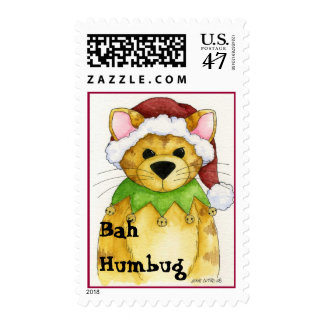 Merry Christmas from the cat Bah Humbug Postage