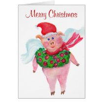 Merry Christmas from the Flying Santa Pig Card