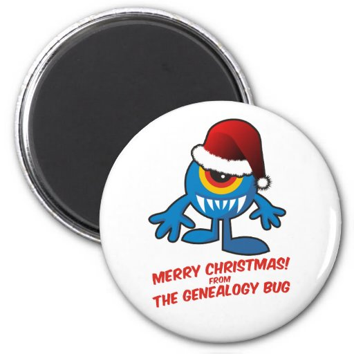 Merry Christmas! From The Genealogy Bug 2 Inch Round Magnet