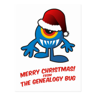 Merry Christmas! From The Genealogy Bug Postcard