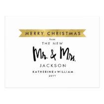 Merry Christmas From The New Mr and Mrs Postcard