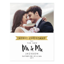 Merry Christmas From The New Mr. & Mrs. One Photo Postcard