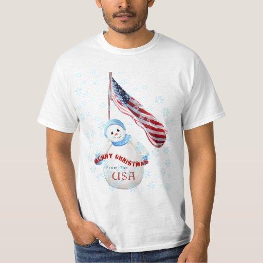 Merry Christmas from USA Snowman T-shirt