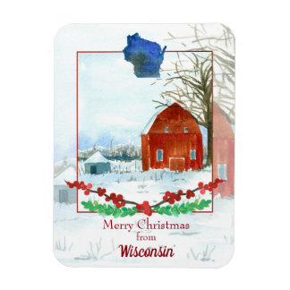 Merry Christmas From Wisconsin Winter Barn Magnet