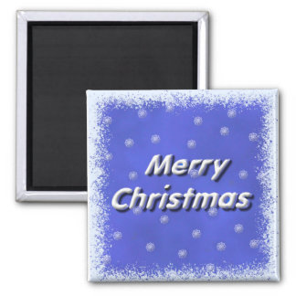 Merry Christmas Frost 2 Inch Square Magnet