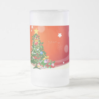 Merry Christmas Frosted Glass Beer Mug