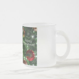 Merry Christmas Frosted Glass Coffee Mug