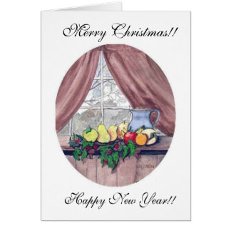 Merry Christmas Fruit and Pitcher Card