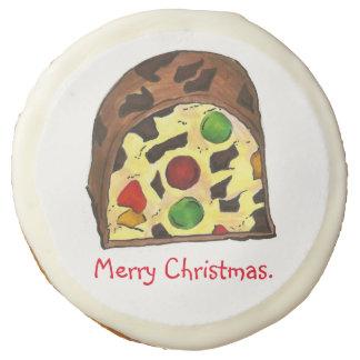 Merry Christmas Fruit Cake Fruitcake Slice Cookies