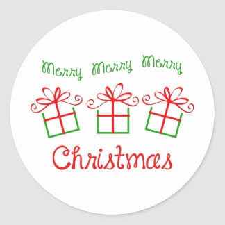 MERRY CHRISTMAS FULL FRONT CLASSIC ROUND STICKER