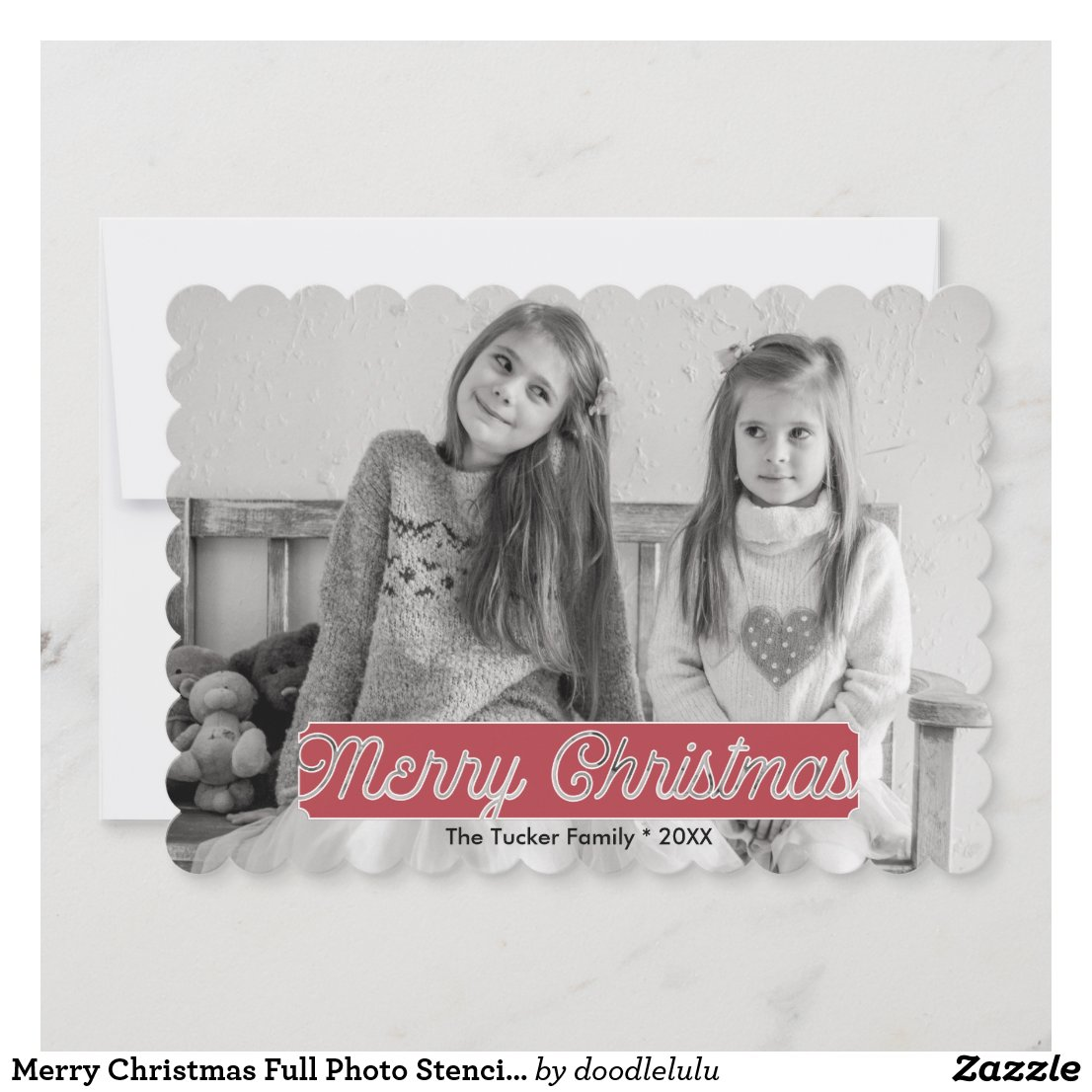 Merry Christmas Full Photo Stencil Overlay Holiday Card