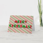 "[ Thumbnail: ""Merry Christmas!"" + Fun Red and Green Stripes Card ]"