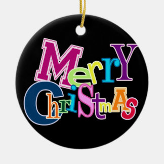Merry Christmas Funky (black) Ornament