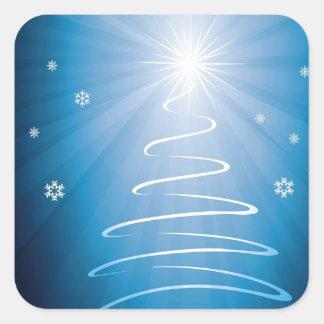 Merry Christmas Funky Christmas Tree Square Sticker