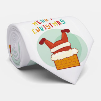 Merry Christmas Funny Santa Claus Stuck In Chimney Tie