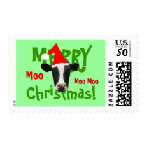 Merry Christmas Funny Santa Cow Postage