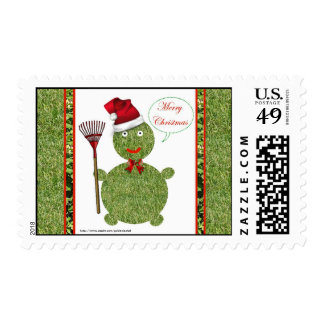 Merry Christmas gardener lawn care landscape Postage Stamp