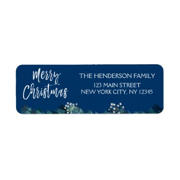 Beach Themed Merry Christmas Garland and Blue Christmas Script Label