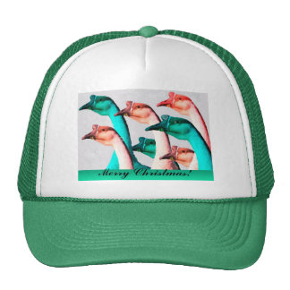 Merry Christmas: Geese Red & Green Say Merry Chris Mesh Hats