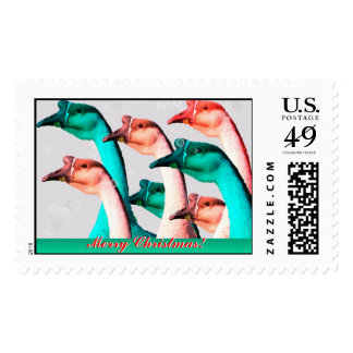 Merry Christmas: Geese Red & Green Say Merry Chris Postage