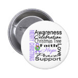 Merry Christmas General Cancer Ribbon Collage Pins