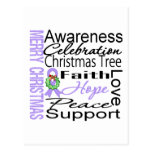 Merry Christmas General Cancer Ribbon Collage Postcard