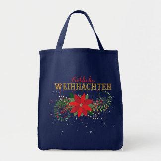 Merry Christmas German Blue Marine Tote Bag