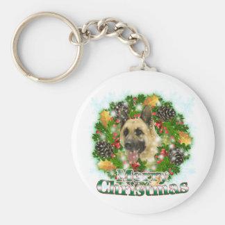 Merry Christmas German Shepherd Basic Round Button Keychain