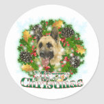 Merry Christmas German Shepherd Classic Round Sticker