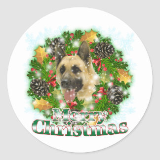 Merry Christmas German Shepherd Classic Round Sticker