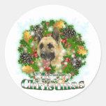 Merry Christmas German Shepherd Round Stickers