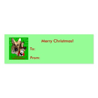 Merry Christmas German Shepherd Small Tag Business Card Template
