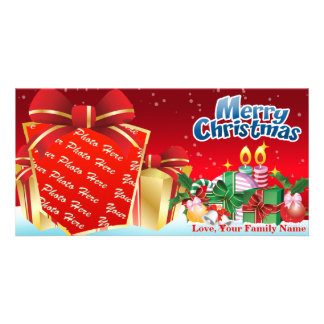 Merry Christmas Gift Photo Template Customized Photo Card