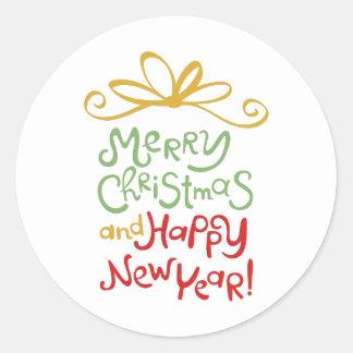 MERRY CHRISTMAS GIFT CLASSIC ROUND STICKER