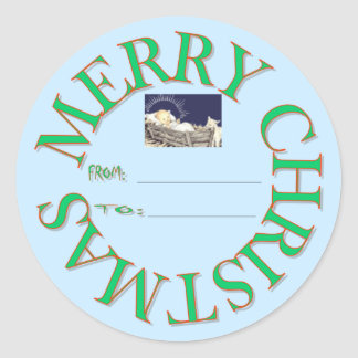 MERRY CHRISTMAS GIFT TAG CLASSIC ROUND STICKER