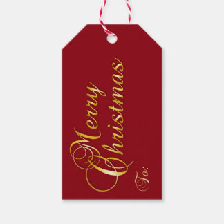 Merry Christmas Gift Tag in Red & Gold