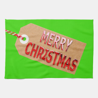 Merry Christmas Gift Tag Kitchen Towel