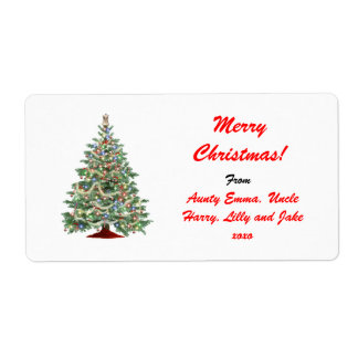 Merry Christmas Gift Tag Label - Personalized Name