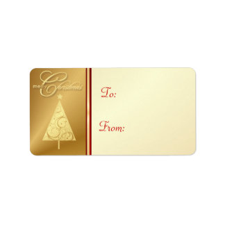 Merry Christmas Gift Tag Labels - Elegant Gold