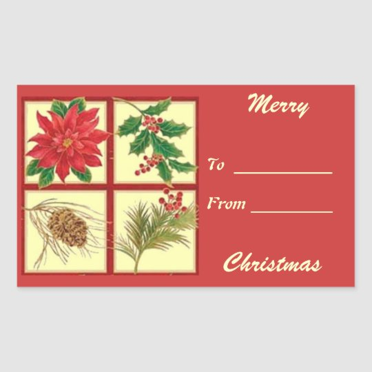 Merry Christmas Gift Tag Rectangle Sticker