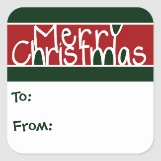 Merry Christmas Gift Tags Square Sticker