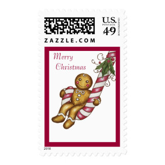 Merry Christmas Gingerbread Candy Postage Stamp