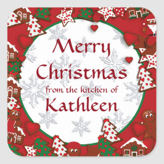 Merry Christmas Gingerbread Cookie Gift Sticker