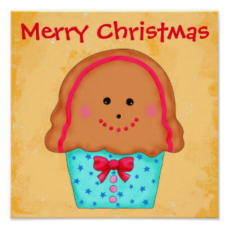 Merry Christmas Gingerbread Cupcake Holiday Sign Print