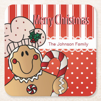 Merry Christmas Gingerbread Design Square Paper Coaster